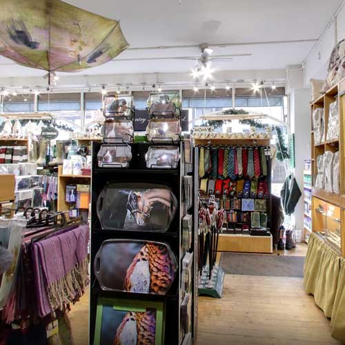 Shop interior showing clothing and gifts