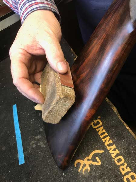 Gun services – wooden stock being finished